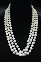 White Acrylic Long Flapper Bead Beaded Necklace Gold Tone Vintage - $29.69
