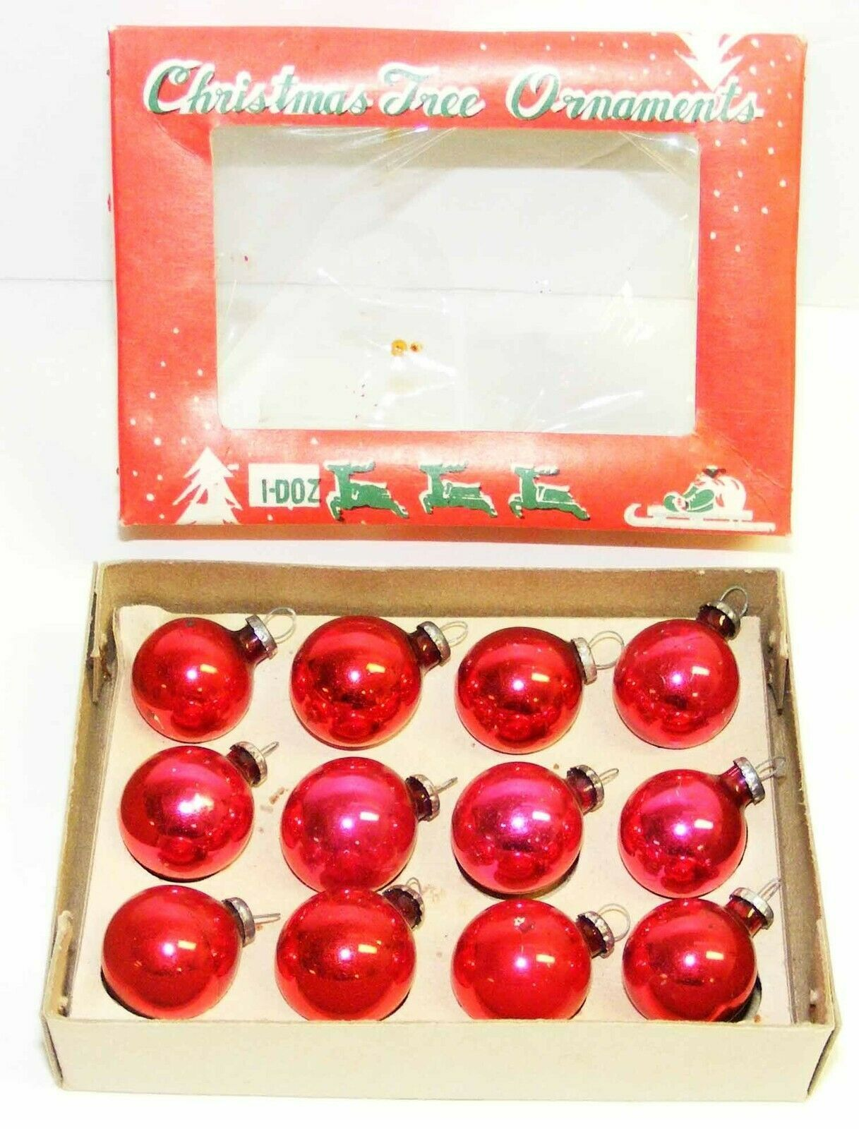 "Primary image for Vintage 3/4"" Mini RED Glass Christmas Ornaments - Japan #5B"