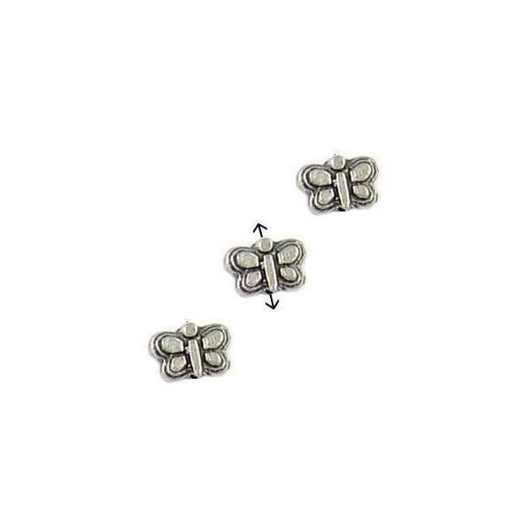 3pcs. Butterfly Fine Pewter Beads - 5x7x3mm; Hole 1mm