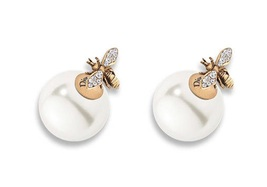 Authentic Christian Dior Tribal Earrings 2017 Gold Tone Aged Metal Pearl... - $399.99