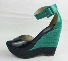 Nine West Miles Femmes Compensée Sandales Cuir Talon Haut Vert Bleu Taille 8,5 M - $23.78