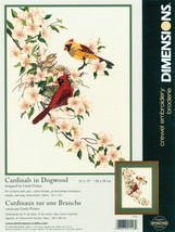 "Dimensions Crewel Kit 11""X15""-Cardinals In Dogwood - $29.69"