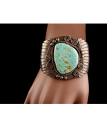 Vintage Wide turquoise Sterling Bracelet - Old Pawn Zuni hand signed Cuf... - $2,400.00