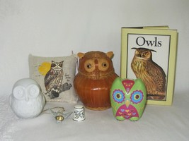 Mixed Lot 7 Vtg Owl Collectible Figurine Balsam Pillow Rattan Thimble Ca... - $59.39