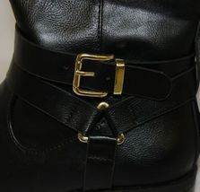 Soda HIROS Black Zip Up Riding Boot Gold Colored Accents Size 5 And Half image 6