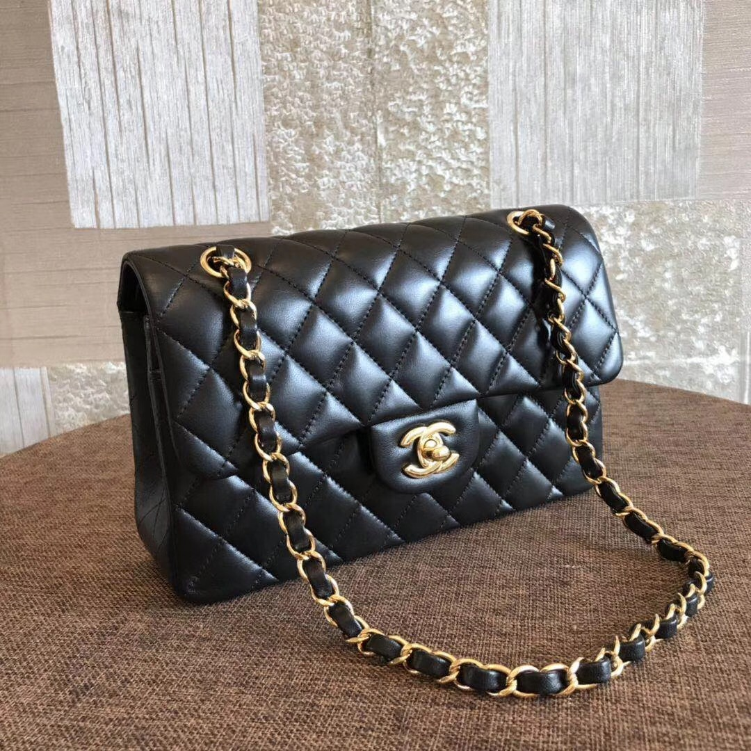 NEW AUTH CHANEL 2019 SMALL Quilted Lambskin Classic Black Double Flap Bag GHW
