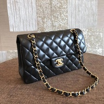 NEW AUTH CHANEL 2019 SMALL Quilted Lambskin Classic Black Double Flap Bag GHW image 3