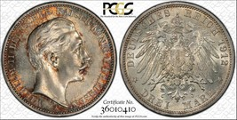 1912-a Germania Prussia 3 Marks PCGS Ms62 Lotto #G013 Argento! Colorato - $93.39