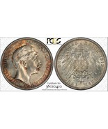 1912-a Germania Prussia 3 Marks PCGS Ms62 Lotto #G013 Argento! Colorato - $93.39