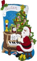 Bucilla Santa at the Piano with Lights Christmas Tree Felt Stocking Kit 86941E - $44.95