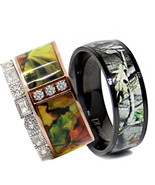 His TITANIUM Camo & Hers STERLING SILVER & STAINLESS STEEL Wedding Ring ... - $39.99
