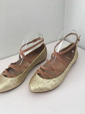 Primary image for Zara Collection Ballet Flats US 6.5 EU 37 Gold Glitter Strappy Ankle Strap