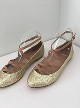 Zara Collection Ballet Flats US 6.5 EU 37 Gold Glitter Strappy Ankle Strap - $29.69