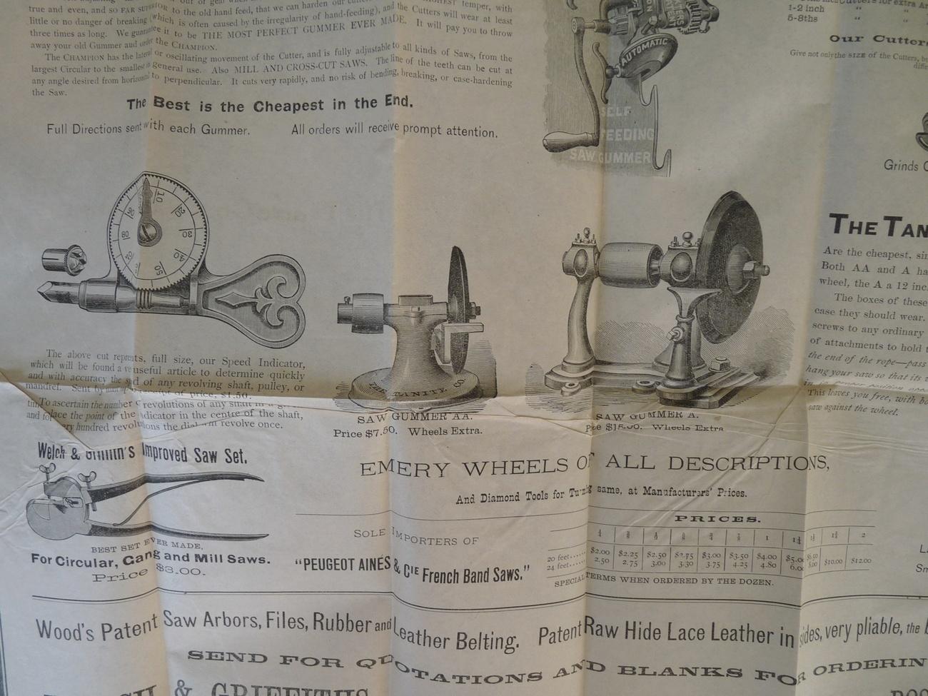 Welch Griffiths saw tool broadsheet 1800 Boston advertising ephemera