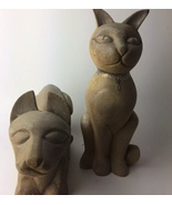 Arthur Court RARE CARVED WOOD CAT STATUES  - $500.00