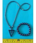Hematite necklace triangle pendant amulet & bra... - $23.27