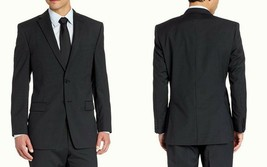Calvin Klein Men's Striped Slim Fit 2-Button Suit Jacket MDNA1, Black SZ... - $98.34