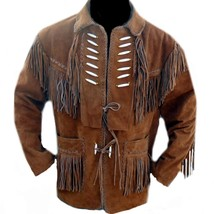 QASTAN Men's New Native American Brown Fringed Cow Suede Leather Jacket FJ04 - $135.00