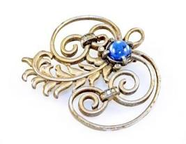 Vintage Brooch Silver Tone Swirl Cobalt Stone 1940S - $11.00