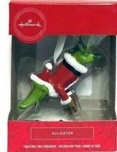Hallmark Alligator Wearing Santa Hat And Jacket Christmas Ornament Ribbo... - $17.99