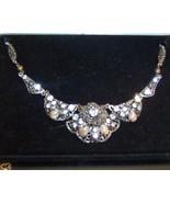 Vintage Germany Necklace Filigree Pearl Rhinestone - $29.99