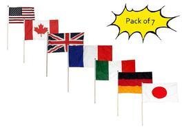 "Set of 7 USA Canada UK France Italy Germany Plain Japan 12""x18"" Desk Flags - $18.88"