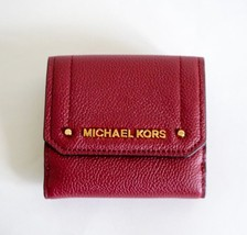 NWT Michael Kors Hayes Medium Trifold Coin Case Leather Wallet Mulberry - $38.60