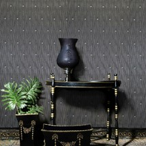 Dark gray silver metallic stones diamond lines faux fabric textured Wall... - $3.50+