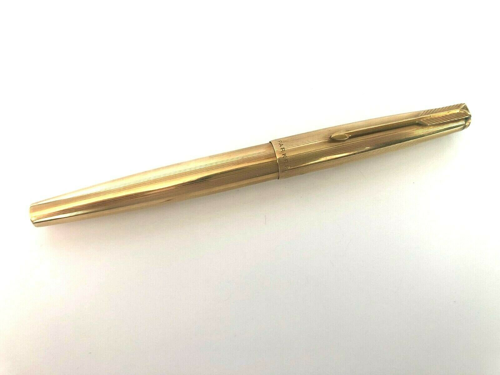 Primary image for Vintage Parker 61 Gold Filled Cap & Barrel 14K Gold Nib Fountain Pen England