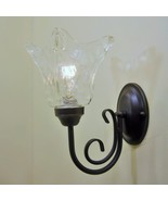 Bronze Finish Clear Art Glass Wall Sconce Vintage Edison Bulb Type Fixture - $57.96