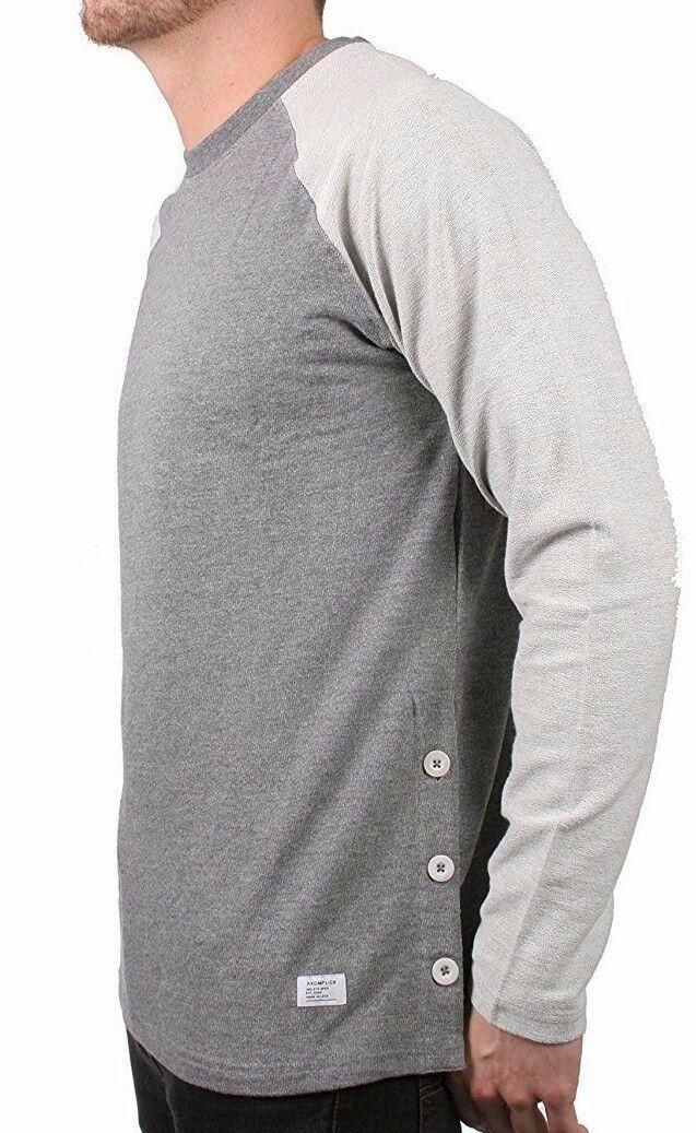 Akomplice Men's Grey Heather Button Fleece Raglan Crew Neck Shirt NWT