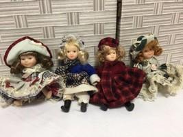 "Porcelain Girl Dolls 4 Small  5"" Ea All Porcelain Moveable Parts Cute Dr... - $10.39"