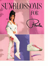 Paula Abdul teen magazine pinup clipping purple background LA Gear shoes