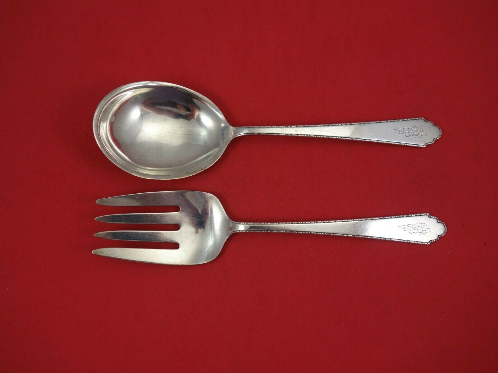 Primary image for William and Mary by Lunt Sterling Silver Salad Serving Set AS 2pc