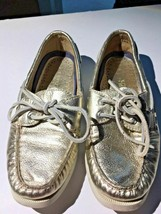 Women's Sperry Top-Sider Silver Metallic Boat Shoes Size 6 M Non Marking - $21.99