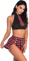 Oliveya School Girl Lingerie Set Sexy Uniform Set Role Play Mini Plaid Skirt image 4