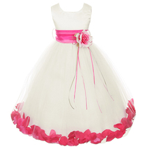 Ivory Satin Bodice Layers Tulle Skirt Fuchsia Flower Ribbon Brooch and Petals - $48.00