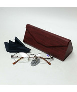 Brown Reading Glasses +1.75 Spring Temples w/ Red Faux Wood Foldable Cas... - $19.99