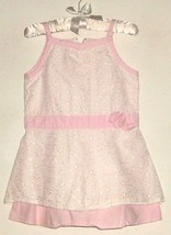 GIRL WHITE/PINK LACE DETAIL DRESS SIZE 12 - 18 MOS. - $3.00