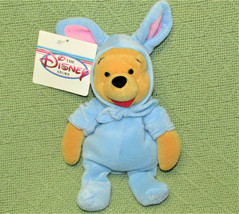Disney Store Blue Easter Bunny Pooh B EAN Bag + Tag Stuffed Animal Vintage 1999 - $11.88
