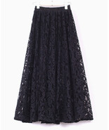 French Charm Black Lace Long Skirt. A Line Lacy Skirt Modern Princess Skirt - $77.00