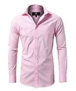 diig Men Slim Fit Long Sleeve Dress Shirt, Pink 15 - $30.56