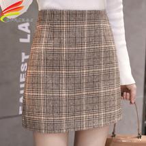Tweed Wool Mini Skirt Women 2019 New Arrivals Korean Fashion Plaid Skirt... - $19.00