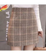 Tweed Wool Mini Skirt Women 2019 New Arrivals Korean Fashion Plaid Skirt... - £15.37 GBP