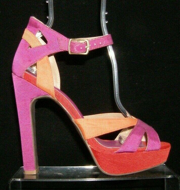 Jessica Simpson 'Storsax' multi-colored canvas buckle strap platform heels 7B