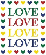 Love N Hearts PDF cross stitch chart John Shirley new designer - $5.00