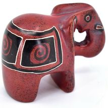 Crafts Caravan Hand Carved Red & Black Soapstone Elephant Figurine Made in Kenya image 4