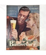 Budweiser Beer Vintage Magazine Print Ad 1957 Where There's Life There's... - $9.49