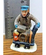 """Christmas Village Accessory Baggage Handler with Cart of Luggage """"Chip o... - $5.93"""