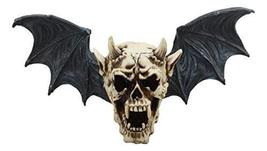 """Ebros Large Horned Demon Vampire Skull With Bat Wings Wall Decor 16"""" Wide 3D Wal - $32.99"""